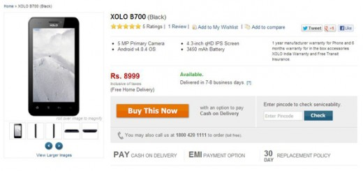Lava Xolo B700 comes in India for about $165 and with a 3450mAh battery.