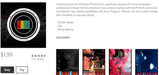 A new version of ProShot for Windows Phone became available this morning.
