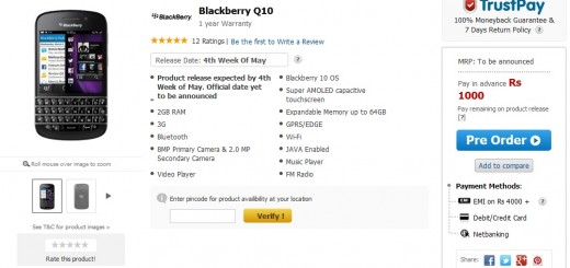 BlackBerry Q10 pre-orders have begun officially in India