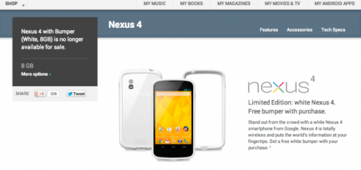 Nexus 4 white with 8GB no longer available at Google Play Store