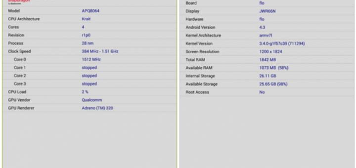 Nexus 7 list with specs