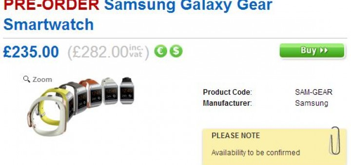 Galaxy Gear can be pre-ordered separately from Galaxy Note 3 from Clove