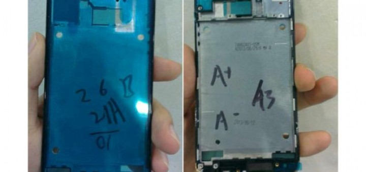 Golden shell of the front panel of HTC One is captured in photos