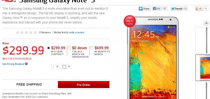 Samsung Galaxy Note 3 - it is time for pre-order on Verizon or AT&T