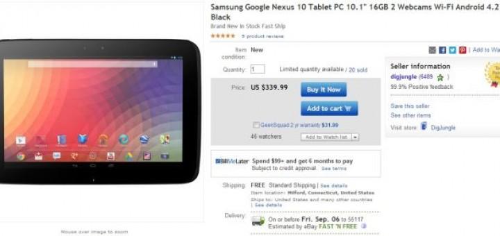 Google Nexus 10 the 16GB version at lower price on eBay