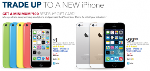 iPhone 5C and iPhone 5S can be purchased with a discount via new trade-in promotion by Best Buy