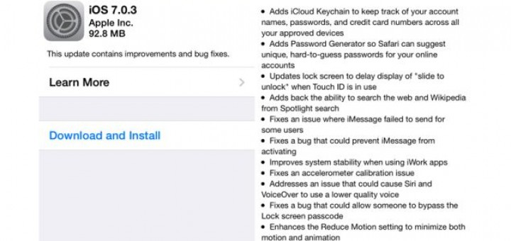 Apple is sending out the minor update iOS 7.0.3