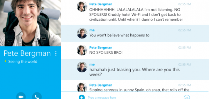 Skype for Android version 4.4 conversation screen