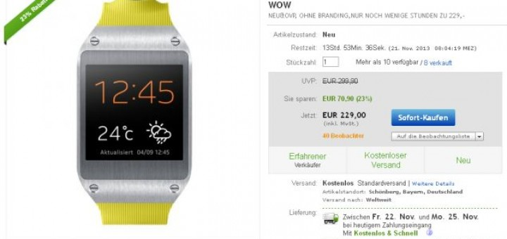 Galaxy Gear is offered at discounted price for €229 on the German eBay
