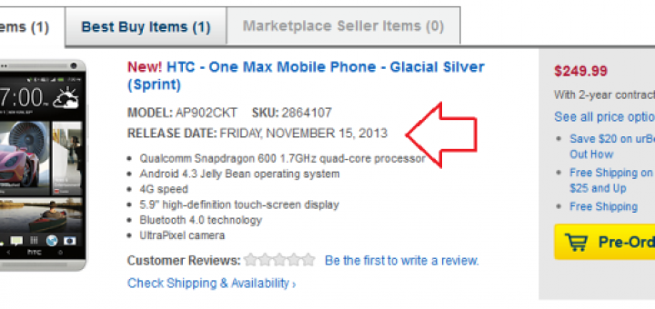 HTC One Max arrives in Sprint on 15th of November