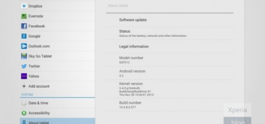 Xperia Tablet Z Android 4.3 update for Wi-Fi model