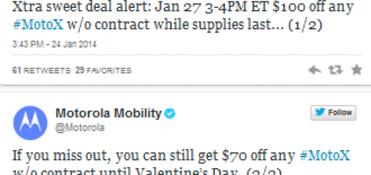 Motorola Moto X will be available for purchase for $299 for one hour on 27th of January