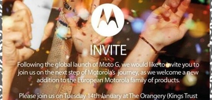 Invitations by Motorola make the clue for Moto X coming up to Europe on 14 Jan