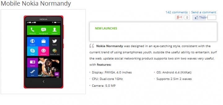 Nokia Normandy shows up in retailer's website in Vietnam