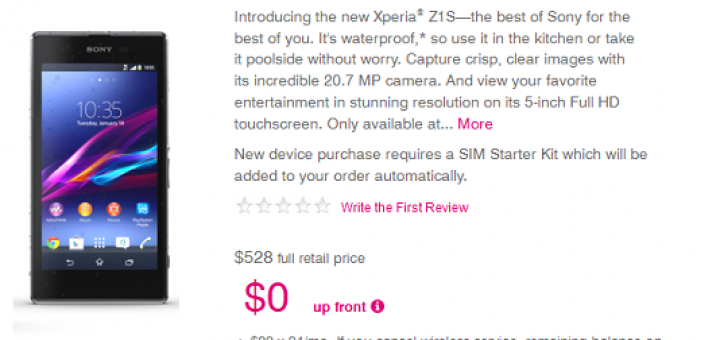 Sony Xperia Z1S gets released by T-Mobile