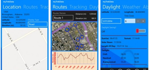 myTrekData app for Windows Phone 8