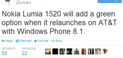 Nokia Lumia 1520 in green with Windows Phone 8.1 on board might be re-launched by AT&T